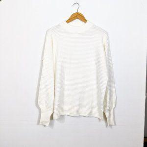 Love Token White Mock Neck Textured Sweater NWT